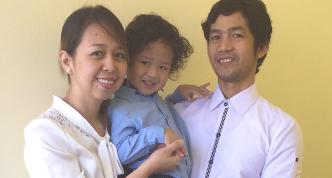 filipino couple with son
